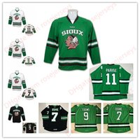 Hombres North Dakota Fighting Sioux Hawks # 11 Zach Parise 9 Jonathan Toews 7 Oshie White Negro Green Stitched College Hockey sobre hielo Jersey S-3XL