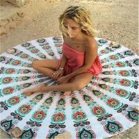 Wholesale Hair Wall Hanged - 150cm Round Beach Towel Tassel Yoga Mat Sunshade Mandala Tapestry Indian Wall Hanging Beach Throw Towels with Polyester Printed Blanket