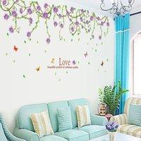 Wholesale Wallpaper Love Flower - 60*90cm Purple Flower Vine Love Wall Stickers DIY Art Decal Removeable Wallpaper Mural Sticker Ay9150B