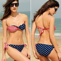 Wholesale Tube Bandeau Bikinis - Big Discount swimsuit swimwear Women Sexy bikini STARS STRIPES USA Flag PADDED TWISTED BANDEAU swim suit tube swim wear