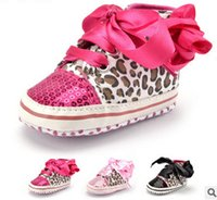 Wholesale Toddler Leopard Sneakers - Baby shoes Newborn sequins lace-up bows Comfortable Prewalker Infant girls Leopard grain soft-soled sneakers Babies toddler shoes T3891
