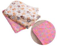 самонагревающиеся ткани оптовых-40 x 60cm Cute Floral Pet Sleep Warm Paw Print Dog Cat Puppy Fleece Soft Blanket Beds Mat