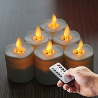 Wholesale Tea Light Battery Candles New - New Battery Operated Flame Votive LED Candles Tea Light Flicker With Remote and Timer Ivory set of 6