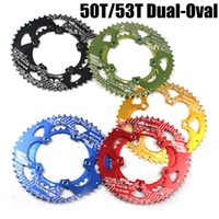 Wholesale Chainring Bcd - Ultralight Dual-Oval Cycling Chainring 110 BCD 50T 53T AL7075-T6 Aluminum Alloy Road Bike Chainring Folding Bicycle Chainwheel Bike Crankset
