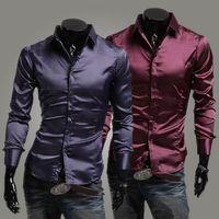 uzun mor ipek elbise toptan satış-Yeni Erkekler gömlek erkekler Öykünme ipek parlak eğlence erkek uzun kollu gömlek Şarap Siyah Mor 3 renkler Gömlekler Erkek Giyim