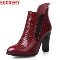 Wholesale Spike Platform Wedges - EGONERY shoes 2017 new causal women fashion riding equestrian spike high heels ankle boots elegant platform round toe shoes