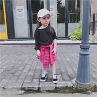 Wholesale Childrens Casual Wear - New 2017 Childrens Dresses Patchwork Plaid Girls Dresses Fashion casual Dresses Girl Clothes Girls Baby Clothing Toddler Dress wear A1162