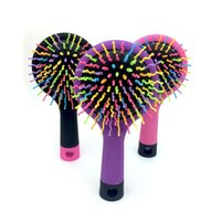Vente en gros - Rainbow Brush Hair Combs Airbag Anti Static Tangle Hairdressing Mirror