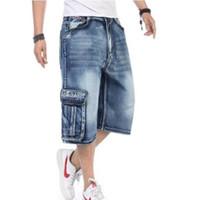 Wholesale Mens Denim Shorts 36 - Wholesale-2016 New Arrival High Quality Mens Loose Denim Cargo Short Denim Hip Hop baggy Pants Shorts Jean Plus Size 36 38 40 42 46