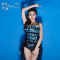 Wholesale Peacock Dance Dress - peacock sexy costumes Nightclub singer exaggerated dance dress Jazz atmospheric DS KTV show bar performance party star