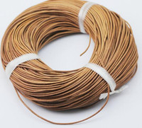 Wholesale Leather 2mm Round Brown - 100merters lot 2mm DIy jewelry cord black brown beige color Genuine Leather rope Diy jewelry accessories environmental round leather line