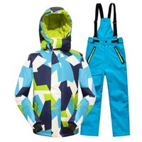 Wholesale Children Sporty Suit - Wholesale- Minus 25 Degrees Children Outerwear Warm Coat Sporty Ski Suit Kids Clothes Set Waterproof Windproof Boys Girls Jackets For 5-14T