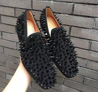 Wholesale shoes diamond studs for sale - Autumn Studs Red Bottom Loafers Men Flats With Spikes and Diamonds Glitter Slipper Shoes Black Genuine Leather Wedding Dress flats