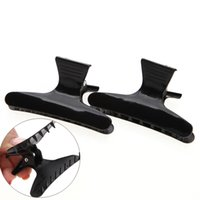 Wholesale Big Hair Clamps - 50Pcs pack Black Butterfly Clamps Clips for Fastening Hair Style Section Big Hair Folder Claw Pro Salon Barber Hair Styling Tools