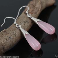 Wholesale Sterling Silver Earrings Cats - Pretty 925 Sterling Silver Hook Pink Cat Eye opal Gemstone Teardrop Earrings>>> free shipping