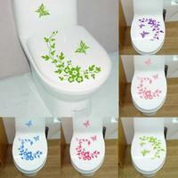 ingrosso fiori farfalle decorativi-Adesivi murali Farfalla Fiore Vite decorativa Apposta alle pareti del bagno Water proof Toilette Pasta Home Decor Fashion Decal 3 2gf F R