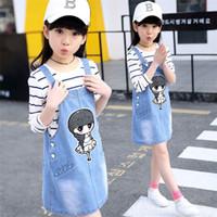 vestuário marca coreano frete grátis venda por atacado-Grande menina calças de brim cintas saia dois conjuntos de impressão coreana little girl correias saia novas roupas para crianças frete grátis