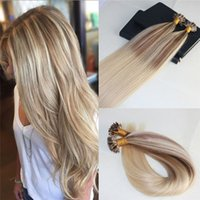 Wholesale European Hair Nail Tip - Double Drawn Omber #10 Fading to #613 Blonde U-Tip Prebonded Human Hair Extensions Slik Straight 100% Remy Nail Keratin Hair Extensions