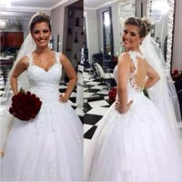 Wholesale Empire Waist Wedding Dress Modest - Hot Sale Modest 2016 Lace A Line Wedding Dresses Sexy Backless Spaghetti Straps Bridal Gown Puff Skirt Empire Waist Vestidos