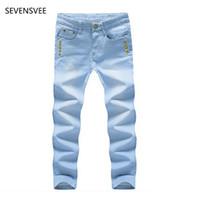 Wholesale Plus Size Thin Pants - Wholesale- Jeans men 2016 new mens Light blue jeans Men thin section straight denim long pants loose high quality Button jeans
