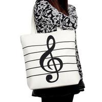 bolso de escuela de musica al por mayor-Al por mayor-Moda Mujer Chica Casual Lienzo Notas de la música Bolso de la escuela Satchel Tote Bolsa de compras Hombro Casual Tote Bolsas de hombro