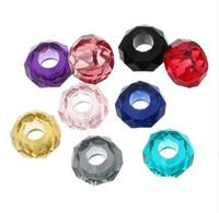 pulseras del encanto del grano de cristal de lampwork al por mayor-JLN Wholesale 100 PCS 8 * 14 mm Granos del Agujero de Europa facetas de Cristal de Murano Granos de Cristal para la Fabricación de Joyas DIY Charm Bracelet