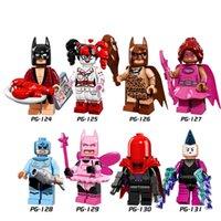 Wholesale Hood Set - Building Blocks Minifigures Action Bricks Bat Super Hero Harley Quinn Girl Red Hood Kids Christmas Gift Toys 8pcs Set PG8040