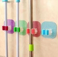 estante de la fregona al por mayor-Nueva cocina Montada en la pared Mop Rack Baño Almacenamiento Mop Escoba Tenedor