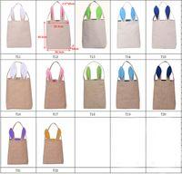 Wholesale Wholesale Gift Shops - NEW design Cotton Linen Canvas Easter Egg Bag Rabbit Bunny Ear Shopping Tote bags kids children Jute Cloth gift Bags handbag