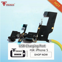 Wholesale Iphone5 Replacement - For iPhone 5 5G iphone5 Charger Dock Connector Charging Data USB Port Ribbon Headphone Audio Jack Flex Cable Replacement Parts black white
