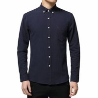Wholesale Loose Collar Shirts Wholesale - Wholesale- New 2016 Summer Ventilated Linen Casual Men Shirt Long Sleeve Solid Lapel Collar Loose Leisure Shirts Men Fashion Brand Clothing