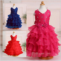 Wholesale Korean Lace Prom Dresses - Summer Korean Girl Wedding Party Dress Kids Puffy Ruffles Lace Beaded Princess Prom Dresses Blue Red Colour