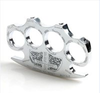 Wholesale New Invoice - Hot sell New Gold Silver Hell detective Constantine Steel Brass knuckle dusters Self Defense Personal Security Ship Invoice belt buckle