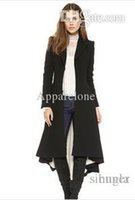 Wholesale Women S Wool Maxi Coat - Wholesale-victorian fashion women slim maxi wool trench coat with dovetail hem and wrap front for wholesale and free shipping haoduoyi