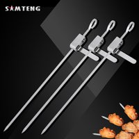 Wholesale Stainless steel grill skewers outdoor barbecue skewers slide switch portable barbecue tool