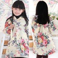 Wholesale Coat Baby Korea - South Korea lovely big flower child raincoat adult fashion girls raincoats children raincoats poncho rain coat baby