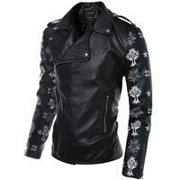 Wholesale Mens Black Denim Jean Jacket - Fall-Black Denim Cotton Jean Classic Biker Motorcycle Jacket Mens Boy Retro Locomotive Motor Black Wahsed Denim Trendy Jeans Coat 4Xl