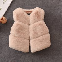 Wholesale Coated Cotton Fabric Wholesale - Everweekend Toddlers Girls Baby Autumn Winter Waistcoat Faxu Fur Coats Kids Muti-color Colorful Fabric Fur Clothes Fur Vest