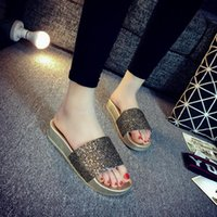 Wholesale Gold Muffin - Wholesale-New Summer Blowing Slippers Slope With Thick Soles Muffin Sandals Leisure Gladiator Household Women's Slippers Beach Sandals