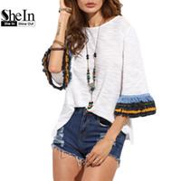 Wholesale fringe clothing - Wholesale-SheIn Womens Casual Clothing 2016 Summer T shirt Tops Ladies Beige Fringe Cuff Round Neck Half Flare Sleeve T-shirt