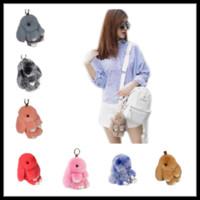 Wholesale Real Jade Rings - Cute Bunny Keychains 40 Colors 13cm 18cm Pompoms Handmade Real Rabbit Fur Key Ring Pom pom Car Bag Charm Pendants