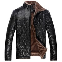 Wholesale Mens Black Leather Winter Overcoats - Mens Fur Coat Winter Jacket Wool Liner Faux Leather Jacket Thicken Warm Outdoor Overcoat Outwear Waterproof Windbreak XL-5XL Big Size