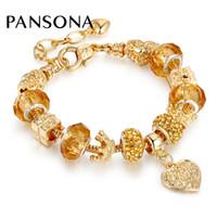cam kalpler altın toptan satış-Orijinal Yeni Altın renk Charm Bilezikler Kadınlar Için Yılan Zincir Kalp Taç Bileklik Bilezik DIY Kristal Murano Cam Boncuk AA145