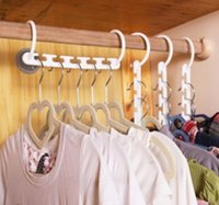 Wholesale Magic Trousers Clips - Space Saving Hanger Plastic Cloth Hanger Hook Magic Clothes Hanger With Hook Closet Organizer