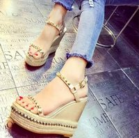 Wholesale Wedge Studded - Fashion Gold Rivets Studded Summer Shoes 2017 Women Suede Platform High Heels Pumps Women Wedge Gladiator Sandals Party Wedding