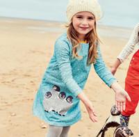 applique baby tiere großhandel-Robe Enfant Mädchen Kleid Kinder Kleidung Marke Herbst Prinzessin Kleid Baby Tunika Tier Applikationen Mädchen Jersey Kleider Kinder