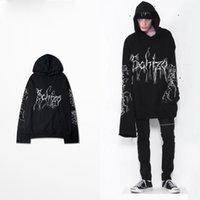 Wholesale Gothic Sweatshirt - 2017 Newest Fashion Double Cuff Hoodie OVERSIZE Long Sleeve Sweatshirt Gothic Hiphop Design Men Hoodies Pullovers