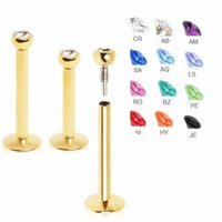 Wholesale Gold Color Surgical Steel Internally Threaded Labret Monroe Lip Stud Piercing Body Jewelry Mixed Colors Gem