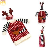 Wholesale Wine Bottle Clothing - Christmas Wine Bottle Covers Champagne Wine Bottle Cooler Moose Pattern Sweater Cute Novelty Christmas Party Decorations Clothing And Hat