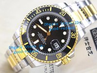 Wholesale Two Tone Luxury Watches - Top Luxury Mens Movement Cal 2813 Watch Men Black Ceramic Bezel Dive Chronometer Date Two Tone Gold Steel Crystal Sport Watches